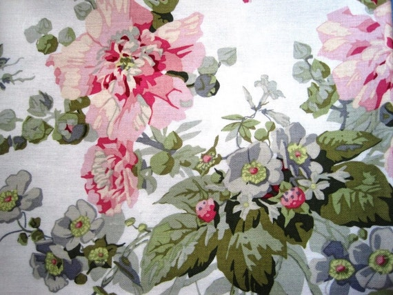"Camilla Floral Fabric, Fat Quarter, Multicolor / White, 18"" X 22"" inches, 100% Cotton, For Victorian & Romantic Projects"