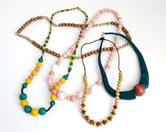 Lot of Necklaces-Plastic & Wooden
