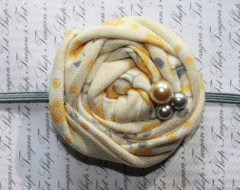 Yellow and Gray Fabric Flower Headband, Newborn Headband, Baby Girl Headband, Baby Girl Flower Headband, Photography Prop