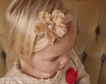 baby girl headbands..baby girl headband..tan headband..girls headbands