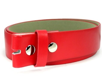Red Leather Belt Snap Strap Belt For Belt Buckle, Interchangeable Girls Womens Snap On Belt Strap, Size Large/Extra Large