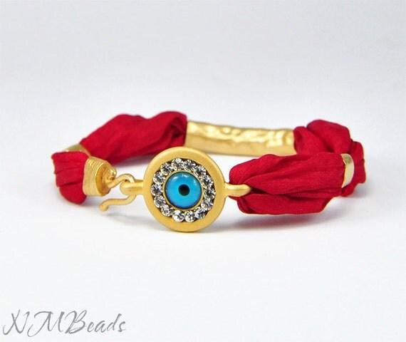 Rhinestone Gold Evil Eye Bracelet With Red Silk, Gift For Her
