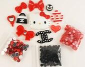 "Kawaii ""elite"" red / black DIY deco kit to bling out your phone - Set 141K"