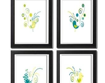 Digital Bird Illustration Turquoise Green Yellow Bird Prints Vintage Modern Digital  Wall Art Print  - Set of Four 8x11 Unframed Art Print