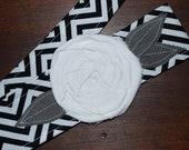 Fabric Flower Headwrap, Headband, Rose, head wrap, hair, covering, chevron, rosette, black and white