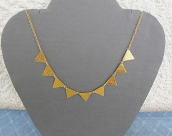 Triangles necklace ,gold brushed triangles pendant