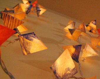 Twinkle Light Paper Garland - TOFFEE SKY - Party and Wedding Light Garland in Navy, Cream, Caramel, and Coral