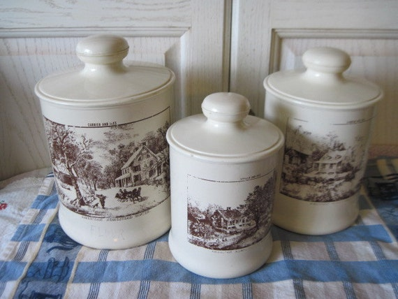 Currier and Ives American Homestead Winter 3 Canisters Set