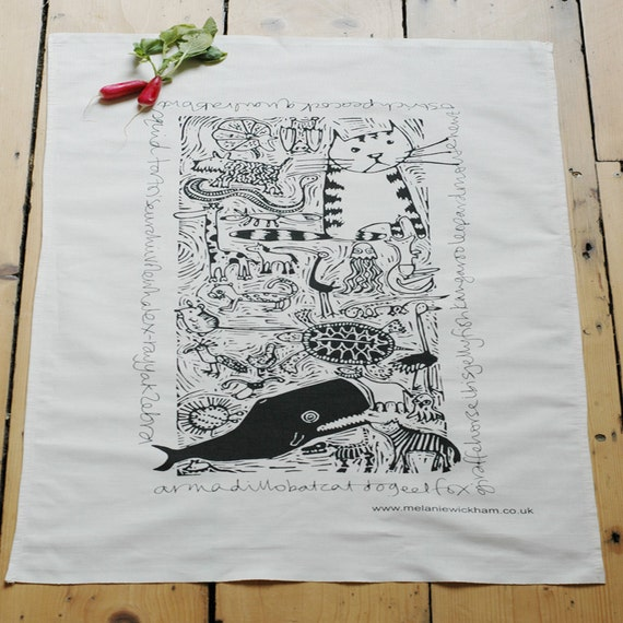 A-Z Animals Tea Towel