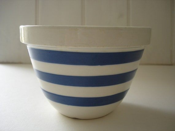 Blue and White Bowl - Vintage Striped Bowl