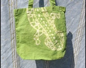 Batik Canvas Tote Bag - Lizard Design - Green - Hand Dyed - 13.5 X 13.5