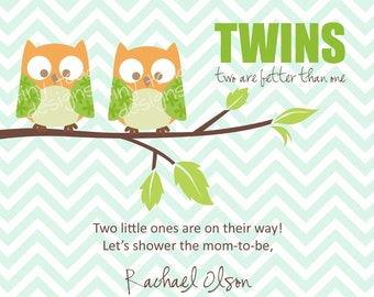 Twins Baby Shower Invitations (Boys) Owls, DIY Printable, digital file (item 1043)