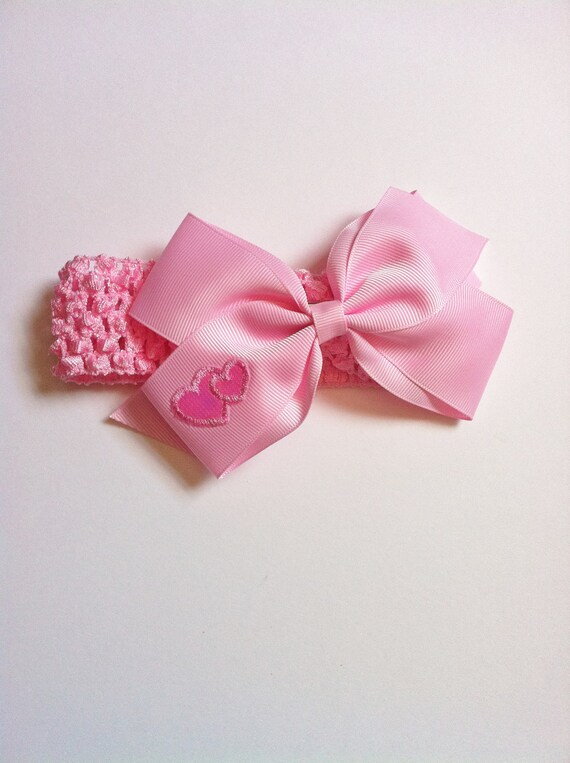 Pink Headband With Pink Boutique Hair Clip Bow With Hearts Details On Bow
