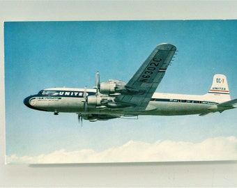 United Airlines Douglas DC-7 Airliner Mainline Airplane in Flight 1950s Postcard - Mid Century Vintage Postcard in Very Good Condition