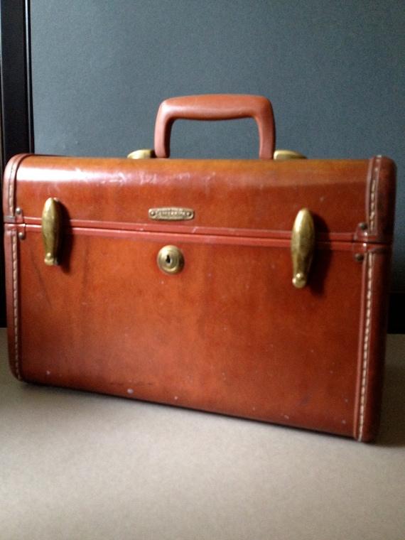 Vtg Samsonite Leather Train Case // With Key