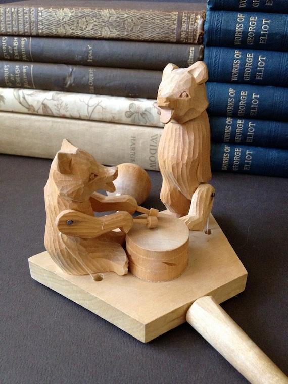 Vtg Ussr Hand Carved Wooden Bear Toy