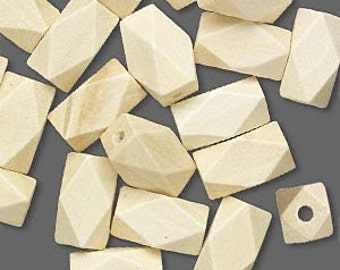 5 Wood Beads in White - Cream - Faceted Tube - 22mm x 13mm