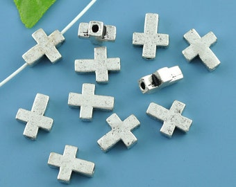 5 Silver Sideways Cross Connectors Links -  15mm x 12mm - Metal Cross Connectors or Links (S07454)