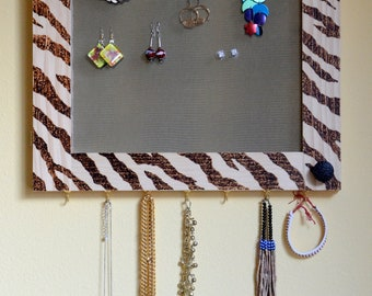 Mirrored Earring Organizer, Tiger / Zebra Design, Wood Burned, jewelry storage, art, vanity, necklace hanger, wall mount (Patent Pending)