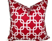 Accent Pillow.Red.ONE 16x16 inch Decorator Pillow Cover.Lattice.Chainlink.Gatework.Cushion Cover