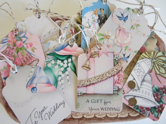 Handmade Gift Tags from Vintage Greeting Cards Set of 12 All Wedding Upcycled