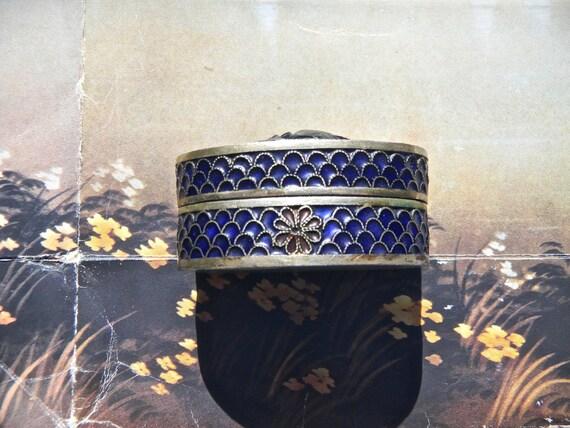 Vintage Silver and Enamel Cloisonne Box - Indian Enamel Box, Vintage