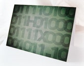 Binary Thx - Blank 4x5.5 Thank You Note Card, Single or Set of 4 - Green Geek Chic Techie Computer Retro