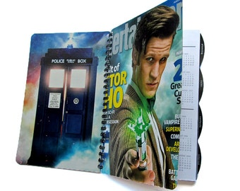 Doctor Who 2016 2017 Planner Daily Monthly Calendar UpCycled TARDIS Dr. Who Matt Smith