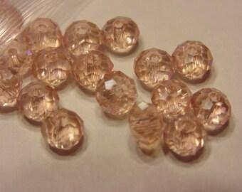 20 light pink crystal rondells ,6 mm (4)