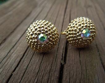 Vintage Gold Tone Earrings, Clip On Type, Aurora Borealis Rhinestone.  Tiny.  Excellent Condition