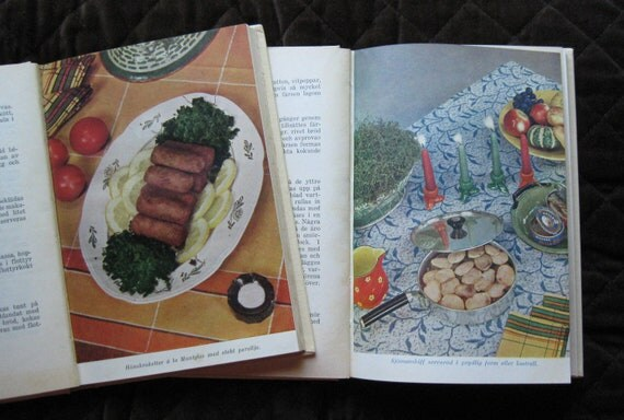 RESERVED -  Two Swedish cookbooks - Husmodern gift books -1937 and 38