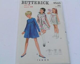 Vintage Butterick Pattern 4543 Girls One Piece Dress