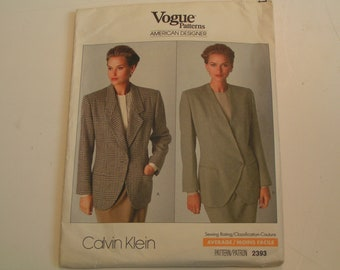 Vintage Vogue Pattern 2393 American Designer Calvin Klein Miss Jacket