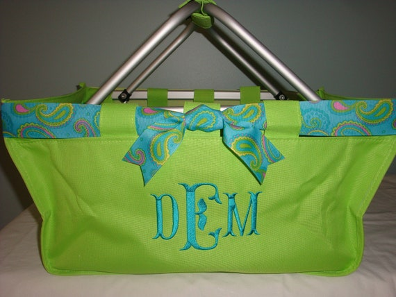 Market Tote Large with Ribbon and Monogrammed FREE