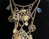 Antique Brass Layered Charm Statement Necklace