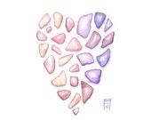 "Love Sea Glass Heart - Peach and lavender seaglass painting...  Original watercolor (3,5x5"")"