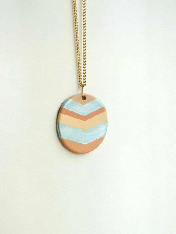 Leather chevron - necklace in mint, peach and terracotta tones