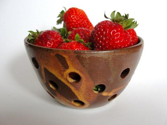 Berry Bowl, Mini Colander, Rust , Brown, Wedding Gift ,Shower Gift, Bridesmaid gift, Ceramic Stoneware BACK IN STOCK