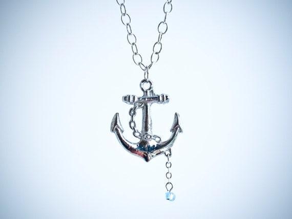 Anchor Necklace With Ocean Blue Glass Bead Nautical Sailor