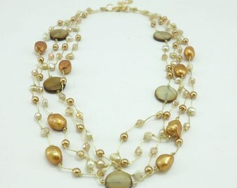 Gold coin shell,silk thread necklace