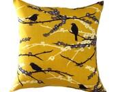 """MUSTARD PILLOW COVER-Mustard Bird Pillow.Blue Green Floral Pillow-- .16"""",17"""",18"""",20"""" 24"""" 26"""", Lumbar Pillow or Euro Sham"""