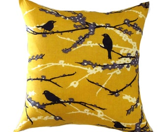 "MUSTARD PILLOW COVER-Mustard Bird Pillow.Blue Green Floral Pillow-- .16"",17"",18"",20"" 24"" 26"", Lumbar Pillow or Euro Sham"