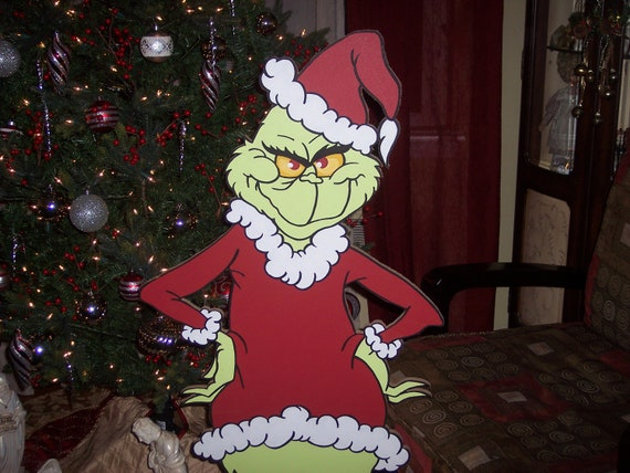 4 feet tall Grinch Cut-out  Hurry     Double listed on Etsy and Ebay