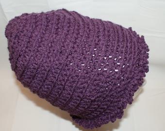 Womens Beanie, Womens Purple Slouch Hat, Slouch Cap, Crochet Sock Cap, Knit Winter hat, Dread Cap, Trendy Hat, Purple Beanie