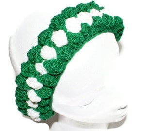 Wide Green Headband, Chunky Headband, Womens Headband, Ear Textured Headband, Crochet Ski Hairband, Ski Headband, Cheerleader Headband