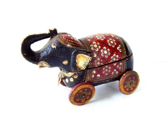 Antique Circus Elephant on Wheels Pull Toy Storage Box Hand Carved and Painted