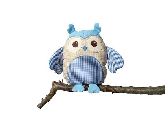 Owl Pillow,  Baby Shower Gift,  Plush Toy, blue-beige