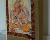 Upcycled Handmade Card - Ganesha in Gold