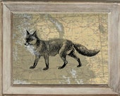 Fox Illustration  Print On Vintage Map of Wyoming 5x7