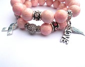 "Pink Bracelet set, Breast Cancer Awareness bracelet - Pink beaded charm bracelet- ""Rock Pink"""